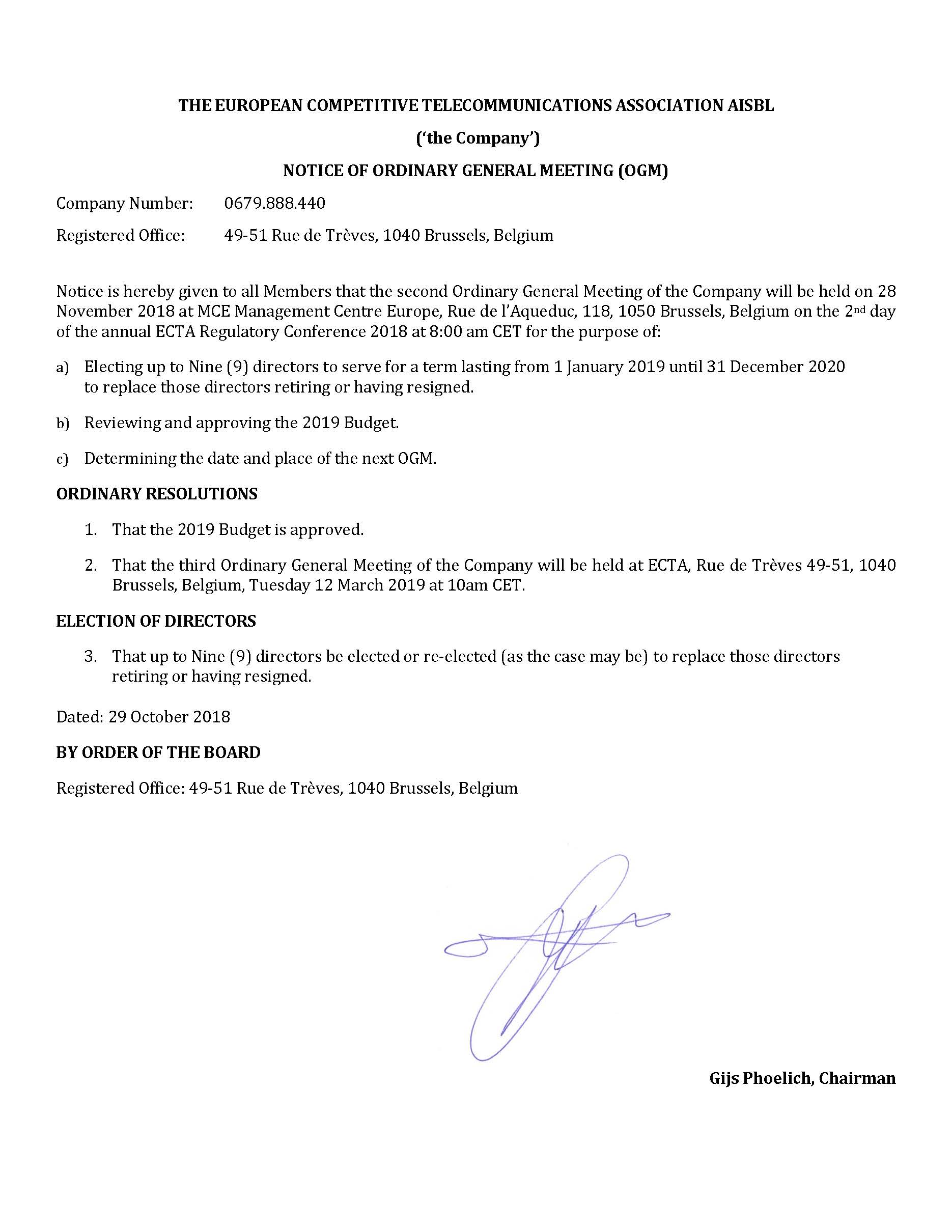 Notice of Ordinary General Meeting