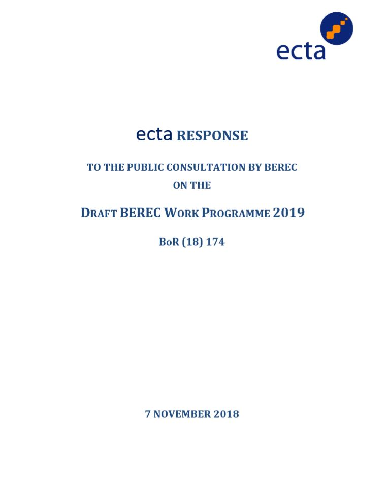 BEREC Draft Work Programme 2019 7 Nov 18